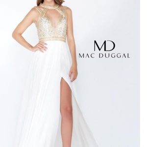 Gold and White Mac Duggal Dress